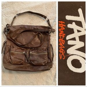 Tano Brown Leather Large Crossbody Tote